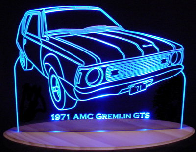 1971 Gremlin AMC Acrylic Lighted Edge Lit LED Car Sign / Light Up Plaque