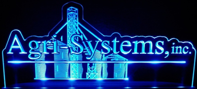 Agri-Systems Business Logo Acrylic Lighted Edge Lit LED Sign / Light Up Plaque Full Size Made in USA