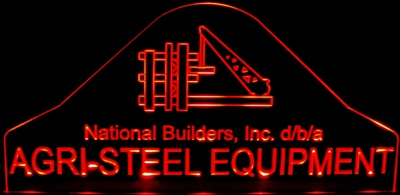 Agri-Steel Equipment Business Logo Acrylic Lighted Edge Lit LED Sign / Light Up Plaque Full Size Made in USA