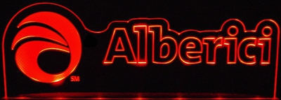 Alberici Advertising Business Logo Acrylic Lighted Edge Lit LED Sign / Light Up Plaque Full Size Made in USA