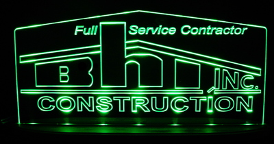 BHI Construction Business Logo Acrylic Lighted Edge Lit LED Sign / Light Up Plaque Full Size Made in USA