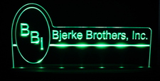 Bjerke Brothers Advertising Acrylic Lighted Edge Lit LED Sign / Light Up Plaque Full Size Made in USA