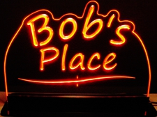 Office Bar Name Sign Award Trophy Bobs Place Acrylic Lighted Edge Lit LED Sign / Light Up Plaque Full Size Made in USA