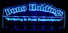 Bono Holdings Advertising Business Logo Acrylic Lighted Edge Lit LED Sign / Light Up Plaque Full Size Made in USA