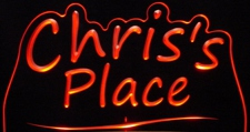 Chris Place Room Den Office Business Advertising Acrylic Lighted Edge Lit LED Sign / Light Up Plaque
