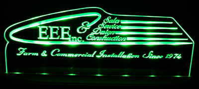 EEE Advertising Business Logo Acrylic Lighted Edge Lit LED Sign / Light Up Plaque Full Size Made in USA