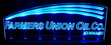 Farmers Union Oil Advertising Business Logo Acrylic Lighted Edge Lit LED Sign / Light Up Plaque Full Size Made in USA