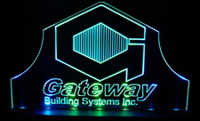 Gateway Building Systems Advertising Business Logo Acrylic Lighted Edge Lit LED Sign / Light Up Plaque Full Size Made in USA