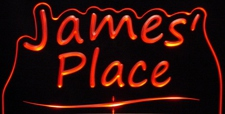 James Place Room Den Office You Name It Acrylic Lighted Edge Lit LED Sign / Light Up Plaque