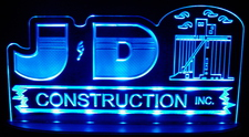 "JD Construction SAMPLE Advertising Business Logo Acrylic Lighted Edge Lit Led Sign 21"" Light Up Plaque"