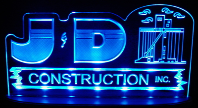 JD Construction Advertising Business Logo Acrylic Lighted Edge Lit LED Sign / Light Up Plaque Full Size Made in USA