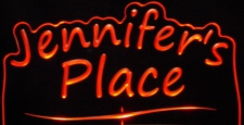 Jennifers Jennifer Place Room Den Office (add your own name) Acrylic Lighted Edge Lit LED Sign / Light Up Plaque Full Size Made in USA