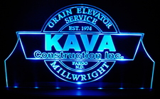 Kava Construction Advertising Business Logo Acrylic Lighted Edge Lit LED Sign / Light Up Plaque Full Size Made in USA