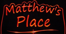 Matthews Matthew Place Room Den Office You Name It Acrylic Lighted Edge Lit LED Sign / Light Up Plaque
