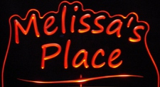 Melissas Melissa Place Room Den Office (add your own name) Acrylic Lighted Edge Lit LED Sign / Light Up Plaque Full Size Made in USA