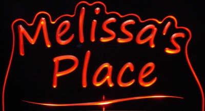 Melissas Melissa Place Room Den Office You Name It Acrylic Lighted Edge Lit LED Sign / Light Up Plaque
