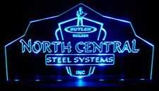 North Central Steel Advertising Business Logo Acrylic Lighted Edge Lit LED Sign / Light Up Plaque Full Size Made in USA