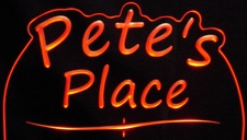 Office Bar Name Sign Trophy Award Petes Place Acrylic Lighted Edge Lit LED Sign / Light Up Plaque Full Size Made in USA