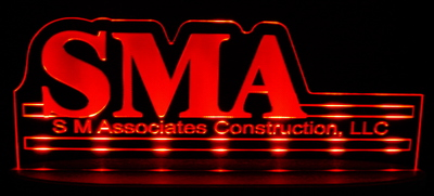 SMA Advertising Business Logo Acrylic Lighted Edge Lit LED Sign / Light Up Plaque Full Size Made in USA