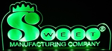 Sweet Mfg. Advertising Business Logo Acrylic Lighted Edge Lit LED Sign / Light Up Plaque Full Size Made in USA