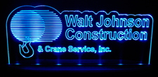 Walt Johnson Construction Advertising Business Logo Acrylic Lighted Edge Lit LED Sign / Light Up Plaque Full Size Made in USA