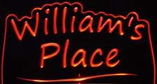 William's Williams Place Room Den Office You Name It Acrylic Lighted Edge Lit LED Sign / Light Up Plaque Full Size USA Original