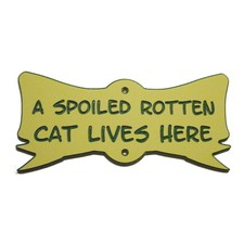 Cat Bow Yard Sign Paw Toy Nip Spoiled Rotten Cat Lives Here Acrylic Laminated Plaque  Made in USA