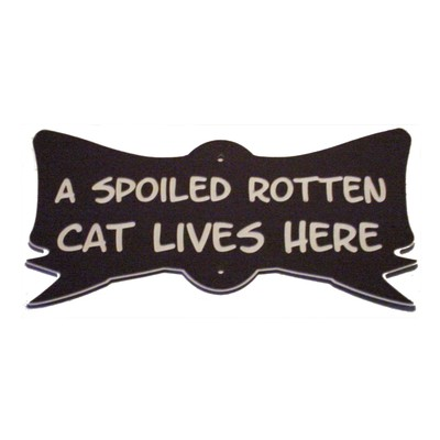 Cat Bow Yard Sign Toy Nip Spoiled Rotten Cat Lives Here Acrylic Laminated Plaque  Made in USA