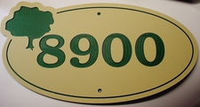 "1 Home Address Street Number Name Sign Laminated Acrylic 11"" x 8"" State Your Text 8900 Made in the USA"