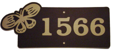 "1 Home Address Street Number Name Sign Laminated Acrylic 21"" x 9"" State Your Text 1566 Butterfly Made in the USA"