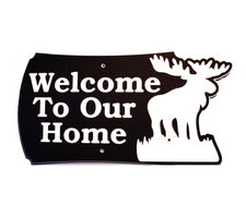 "3 Welcome Name Sign Laminated Acrylic 21"" x 10"" State Your Text Moose Made in the USA"