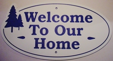 "3 Welcome Name Sign Laminated Acrylic 21"" x 10"" State Your Text Home with Trees Made in the USA"