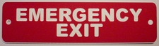 "3 Emergency Exit Laminated Acrylic 11"" x 3"" Made in the USA"