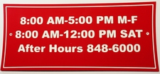 "3 Hours Open / Closed Sign Laminated Acrylic 11"" x 5"" Made in the USA"