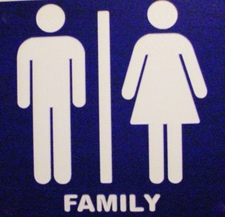 "4 Restroom Ladies Men Laminated Acrylic 9"" x 9"" FAMILY Made in the USA"