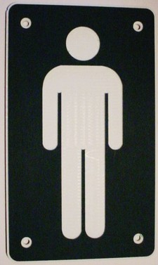 "4 Restroom Ladies Men Laminated Acrylic NO TEXT (man) 9"" x 5"" Made in the USA"