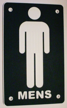 "4 Restroom Ladies Men Laminated Acrylic MENS  9"" x 5"" Made in the USA"
