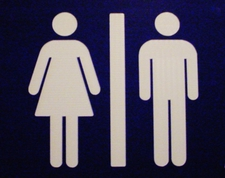 "4 Restroom Ladies Men Laminated Acrylic NO TEXT (man & lady) 9"" x 9"" Made in the USA"
