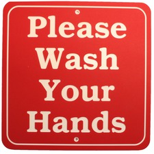 "Please Wash Your Hands sign 11"" x 11"" 3 ply polymer sign Indoor/Outdoor Made in the USA"