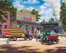 Jigsaw Puzzle Coke-Cola All Aboard 1000 piece Locomotive Train Old Town Cars Coke CLOSEOUT