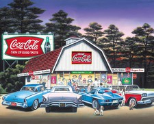 Jigsaw Puzzle Night on the Town 1500 piece Coke Coca-Cola  Classic Cars Barn CLOSEOUT